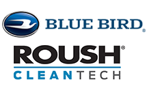 Blue Bird logo on top of Roush Clean Tech logo