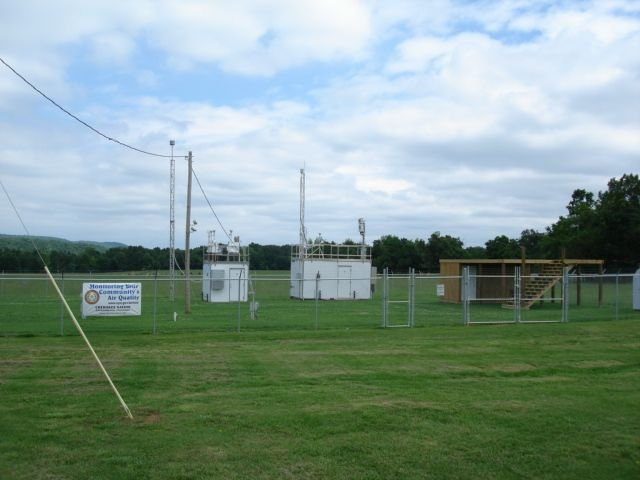 Air monitoring equipment on green grass