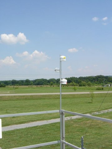 Air monitoring equipment, grass and sky in background