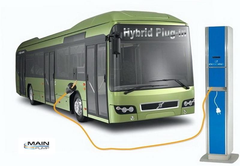 a sketch of a hybrid plug-in city bus