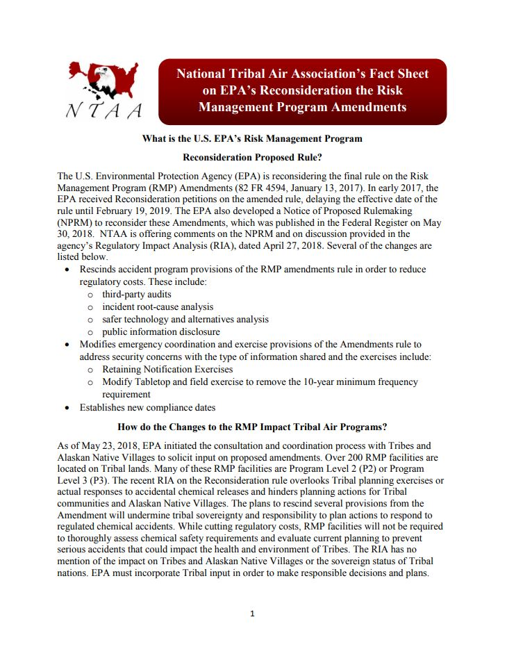 NTAA's Fact Sheet on the Proposed Amendments to the 2016 NSPS for the Oil and Natural Gas Industry.