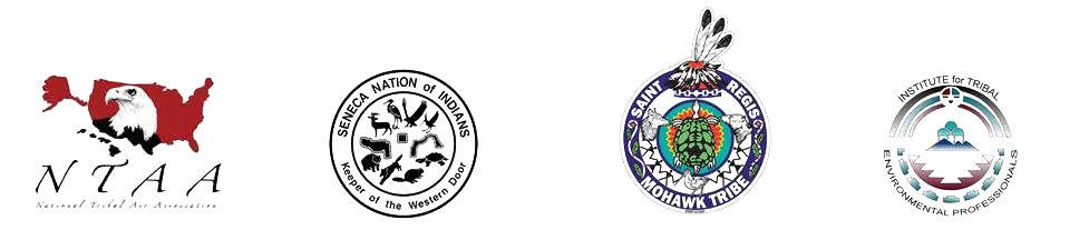 Logos of NTAA, Seneca Nation of Indians, the Saint Regis Mohawk Tribe, and ITEP
